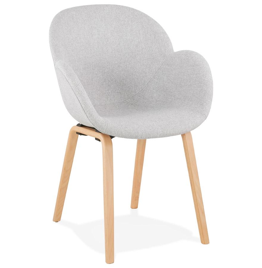 Chaise design avec accoudoirs 'SAMY' en tissu gris clair style scandinave