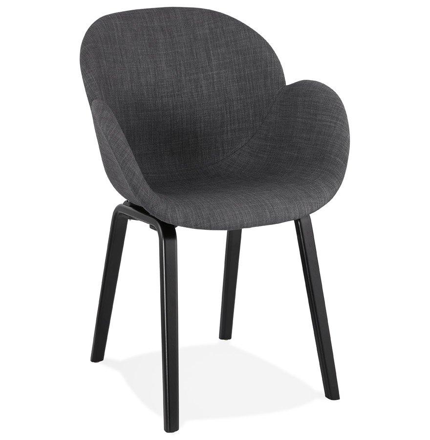 Chaise design avec accoudoirs 'SAMY' en tissu gris et pieds en bois noir