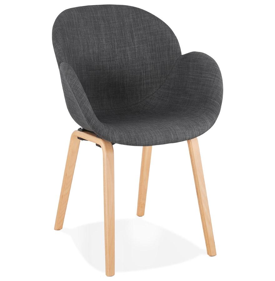 Chaise design avec accoudoirs 'SAMY' en tissu gris style scandinave