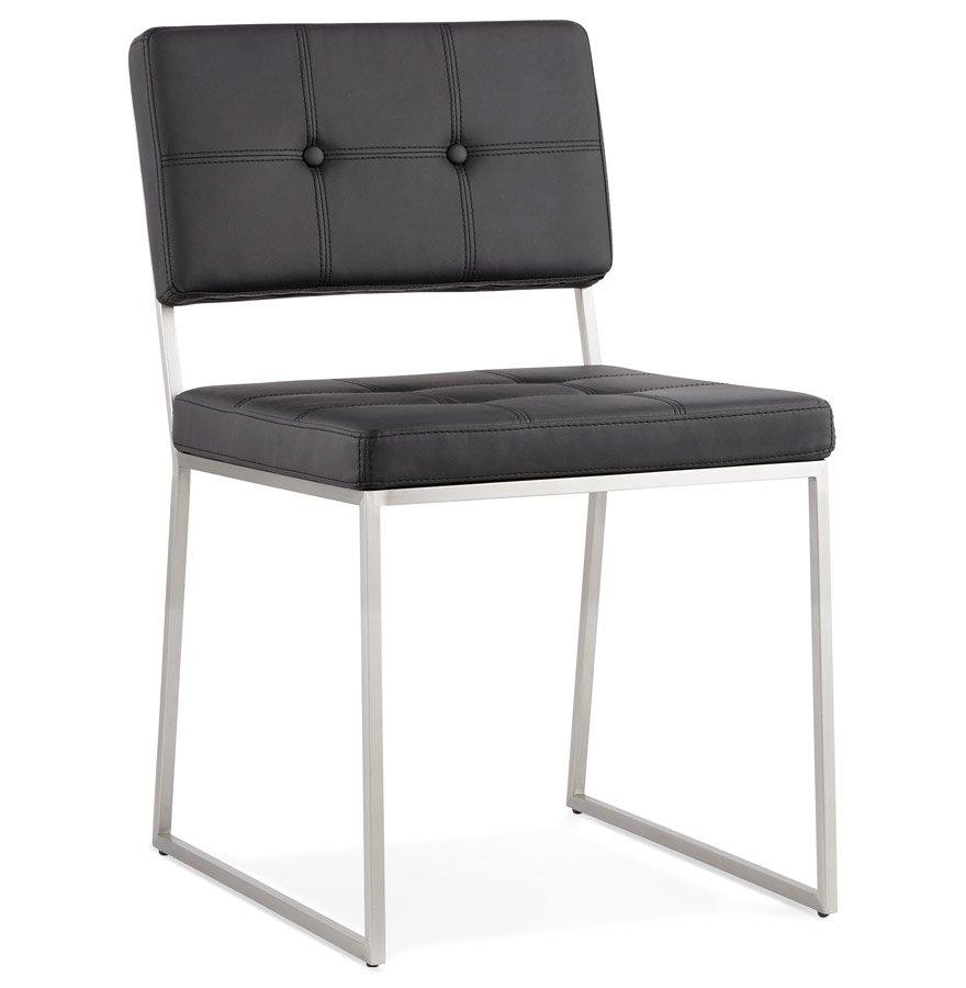 Chaise design capitonnée 'LEON' en matière synthétique noire
