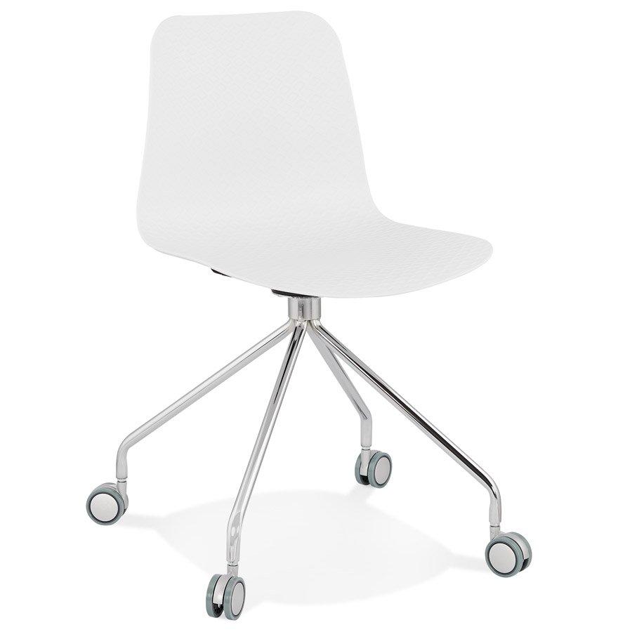 Chaise design de bureau 'SLIK' blanche sur roulettes