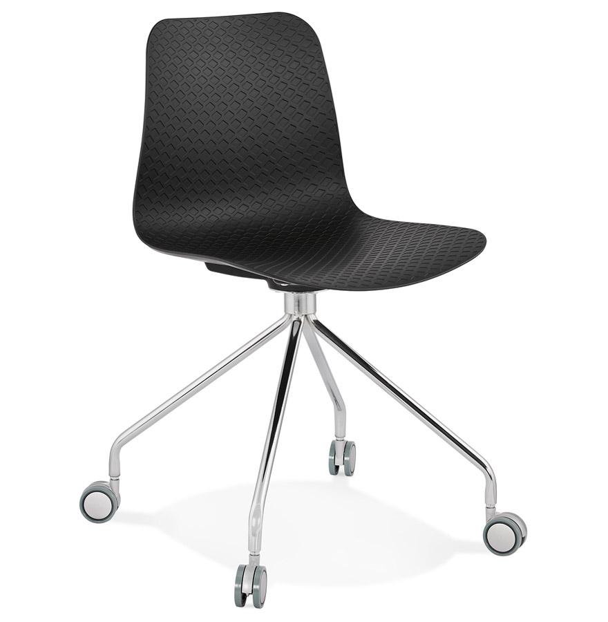 Chaise design de bureau 'SLIK' noire sur roulettes