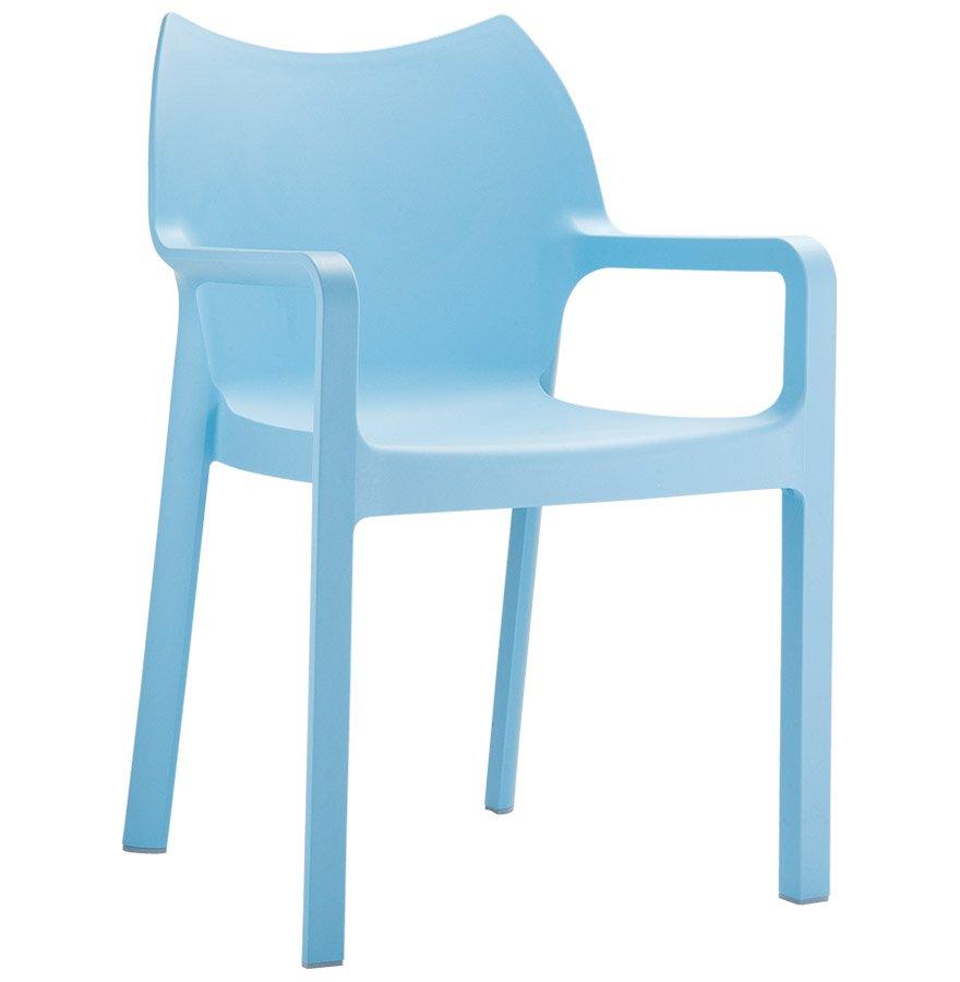 Chaise design de terrasse 'VIVA' bleue en matière plastique