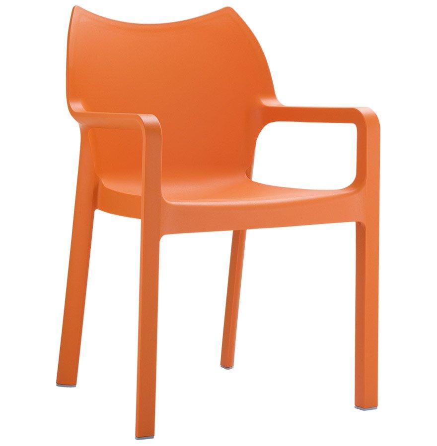 Chaise design de terrasse 'VIVA' orange en matière plastique