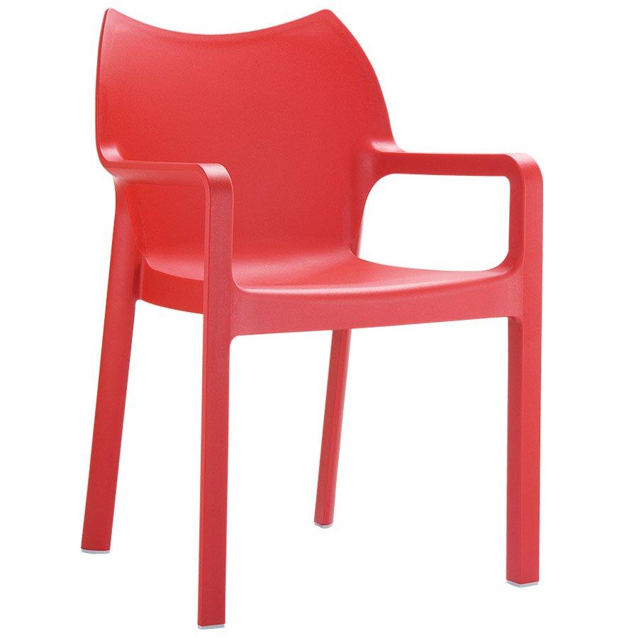 Chaise design de terrasse 'VIVA' rouge en matière plastique