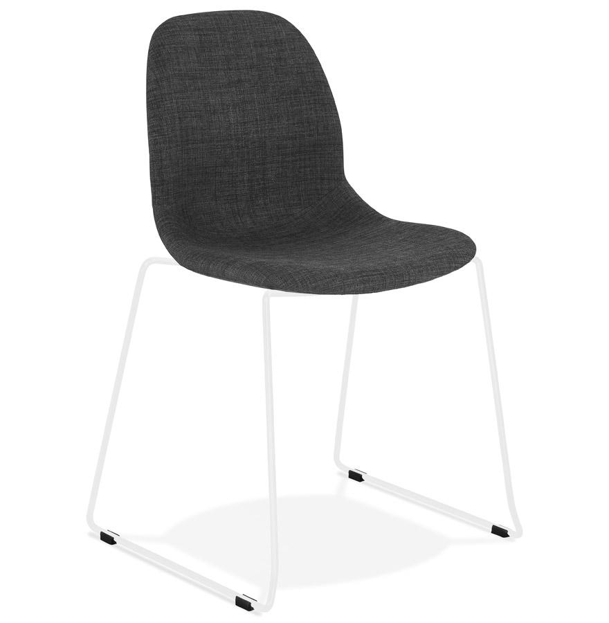 Chaise design 'DISTRIKT' en tissu gris foncé avec pieds en métal blanc