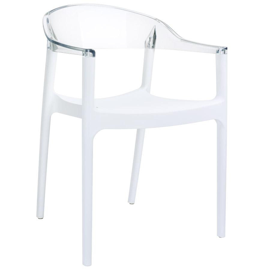 Chaise design 'EMA' blanche et transparente