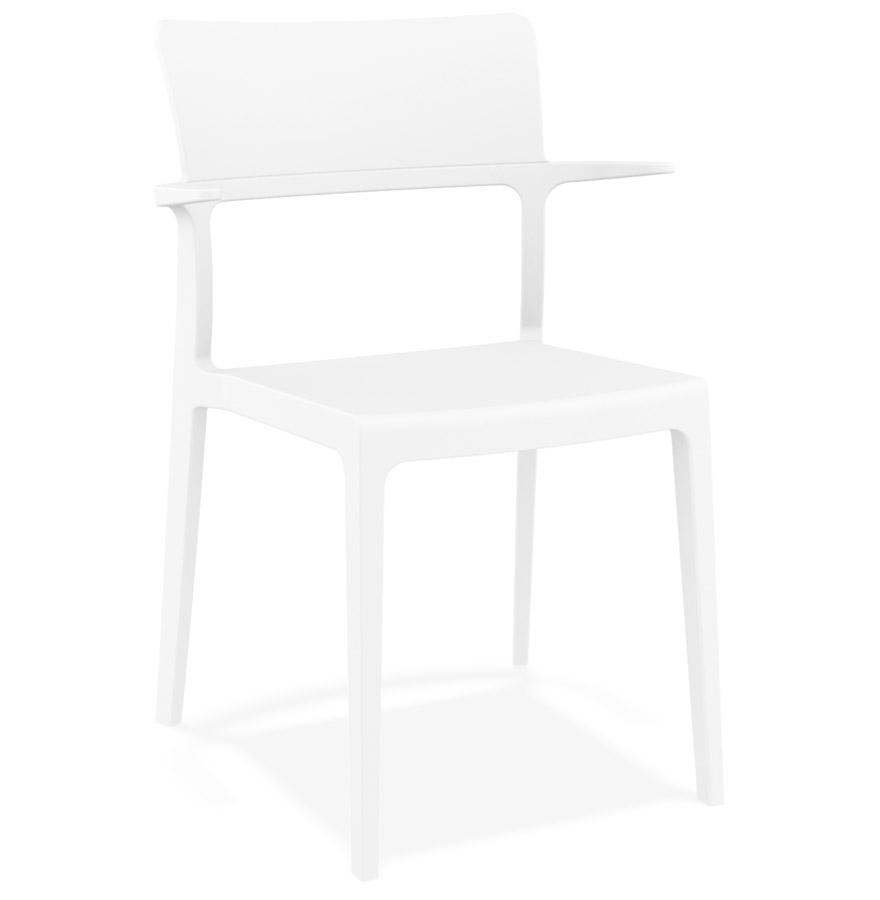Chaise design empilable 'PAPRIKA' blanche intérieur / extérieur