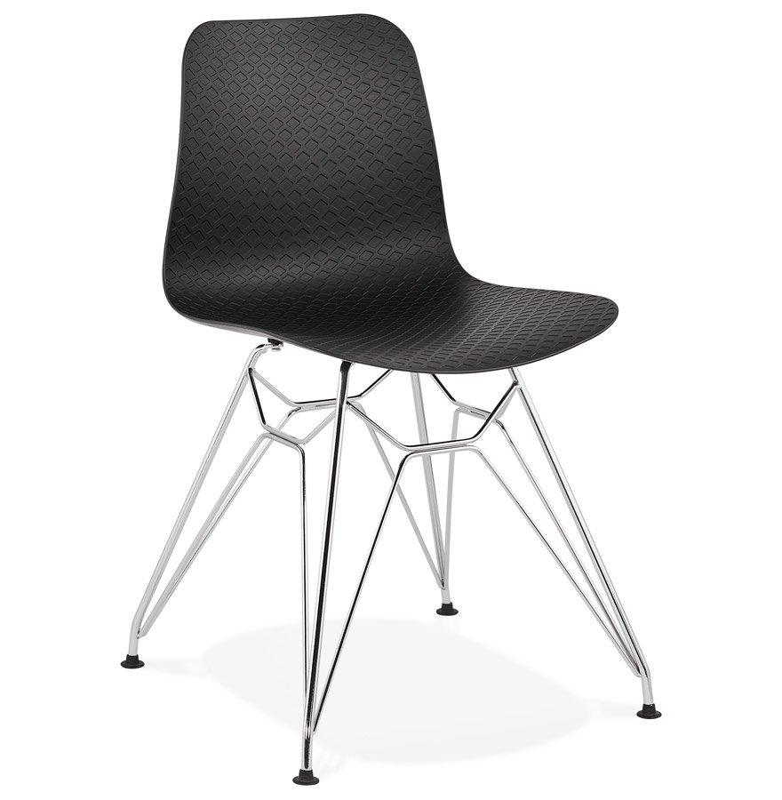Chaise design 'GAUDY' noire avec pied en métal chromé