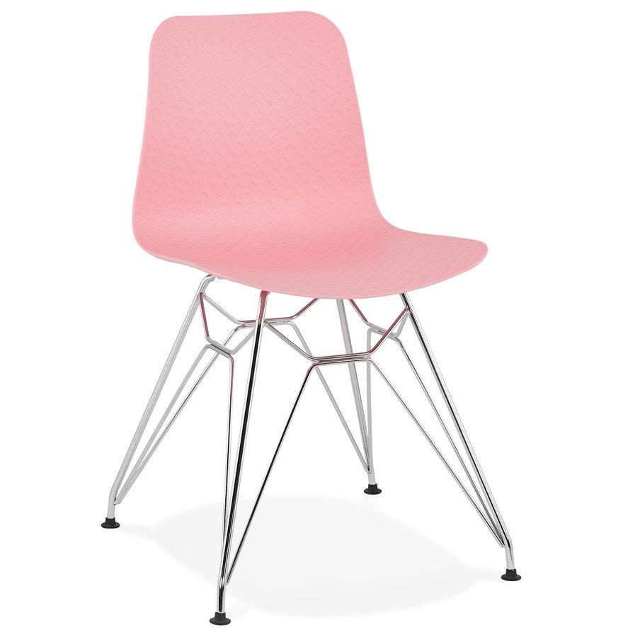 Chaise design 'GAUDY' rose avec pied en métal chromé