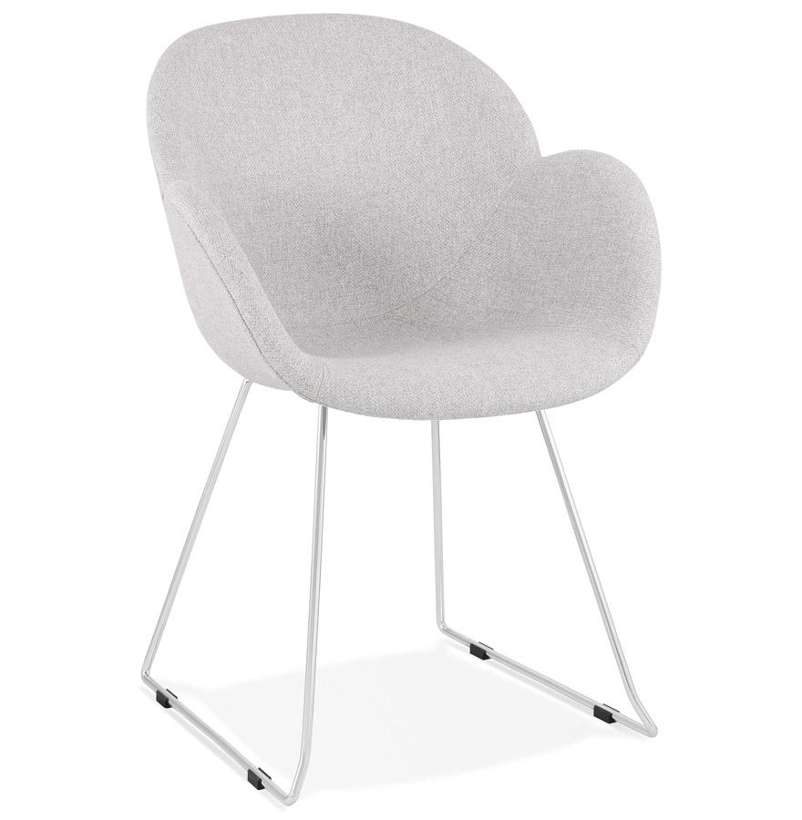 Chaise design 'JUMBO' grise claire en tissu