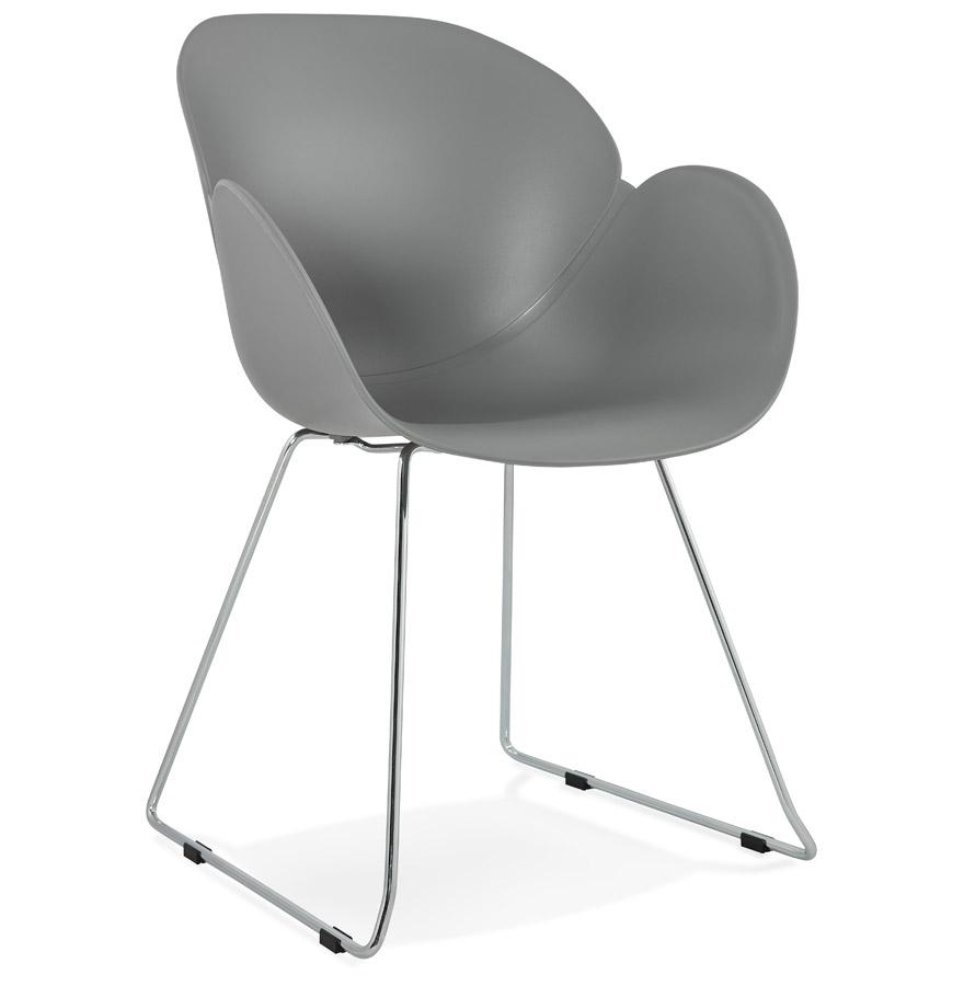 Chaise design 'NEGO' grise en matière plastique