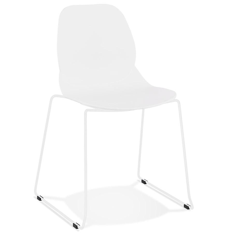 Chaise design 'NUMERIK' blanche avec pieds en métal blanc