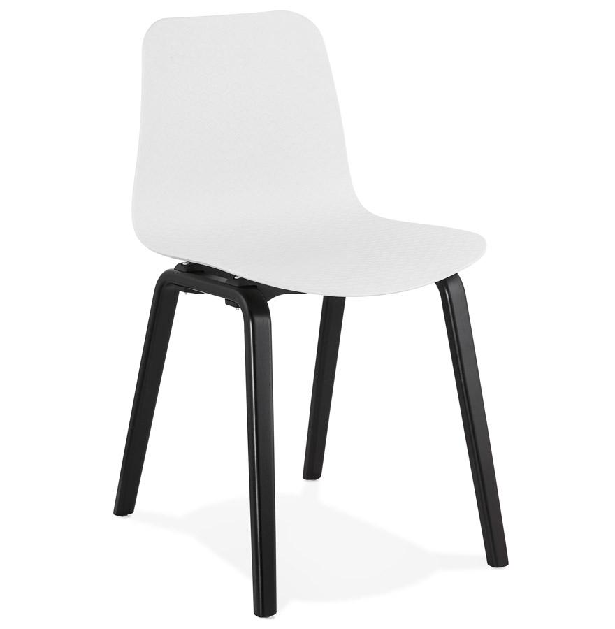 Chaise design 'PACIFIK' blanche avec pieds en bois noir
