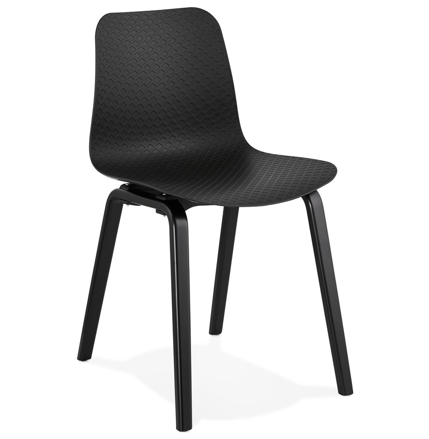 Chaise design 'PACIFIK' noire avec pieds en bois noir
