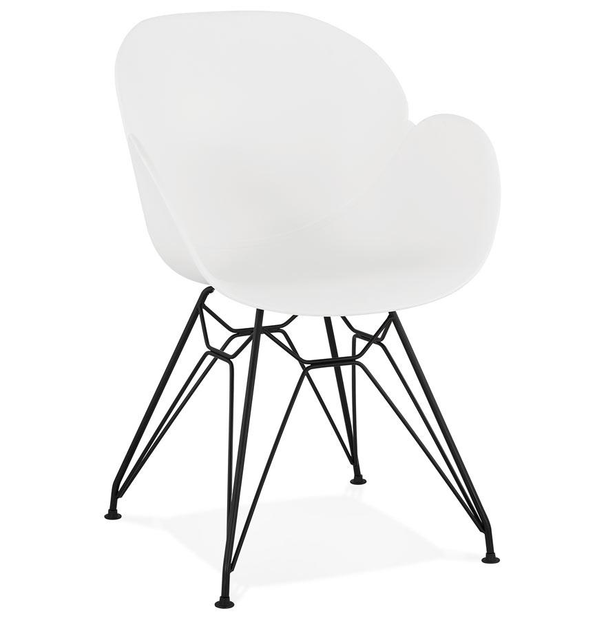 Chaise design 'SATELIT' blanche style industriel avec pieds en métal noir