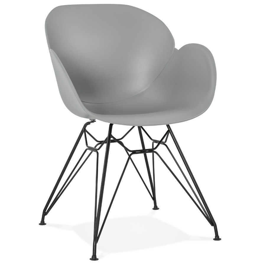 Chaise design 'SATELIT' grise style industriel avec pieds en métal noir