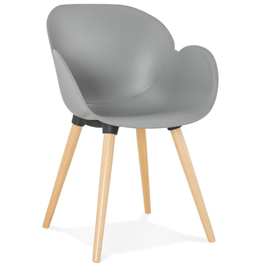 Chaise design scandinave 'PICATA' grise avec pieds en bois