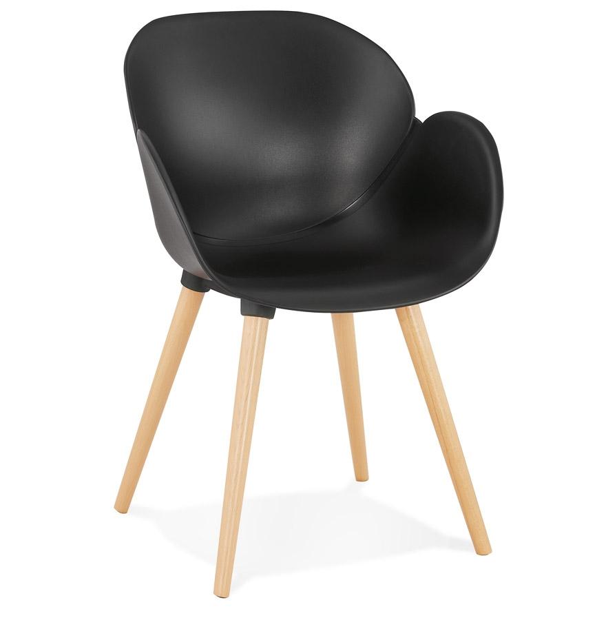 Chaise design scandinave 'PICATA' noire avec pieds en bois