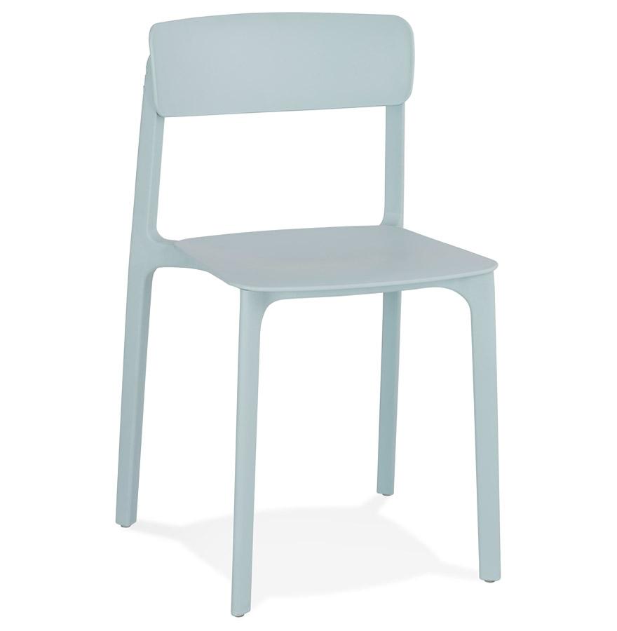 Chaise intérieur / extérieur empilable 'TROPICAL' en matière plastique bleu pastel
