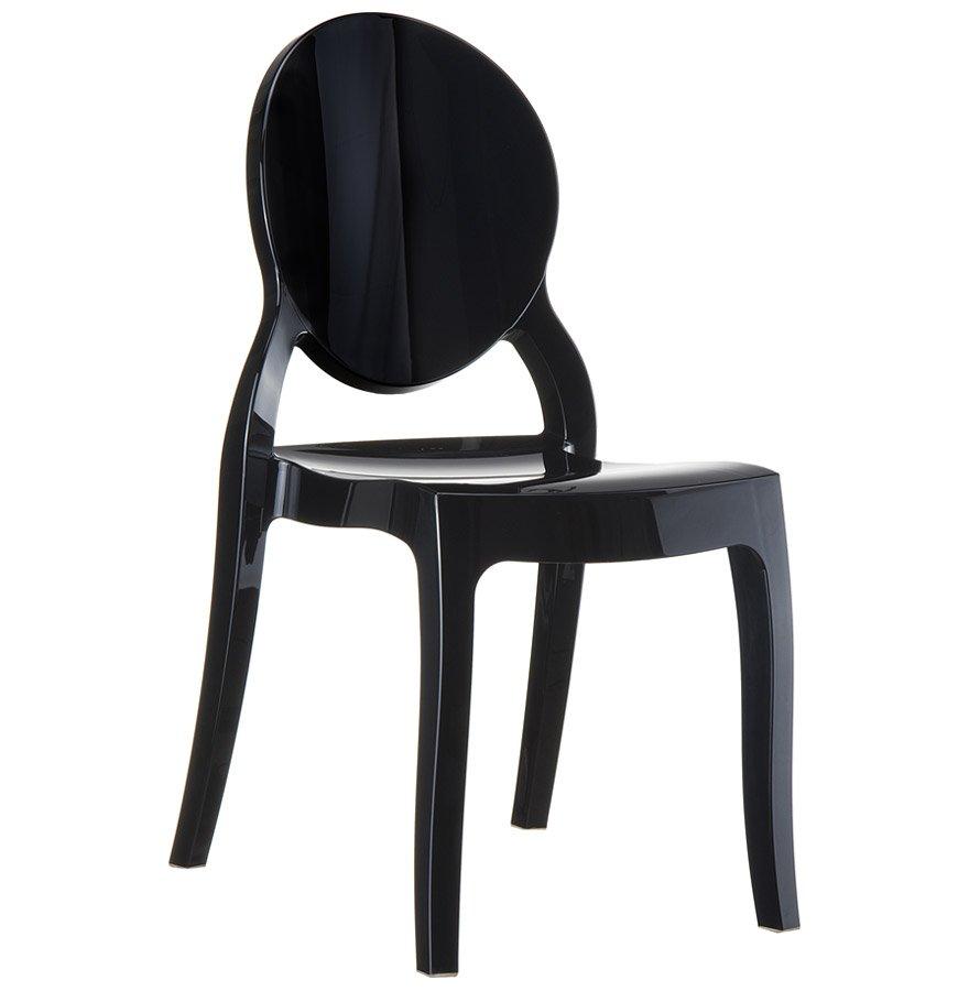 Chaise médaillon 'ELIZA' noire en matière plastique