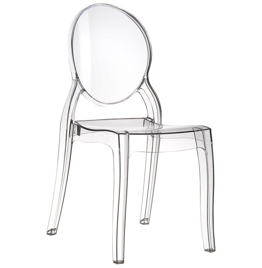 Chaise médaillon 'ELIZA' transparente en matière plastique