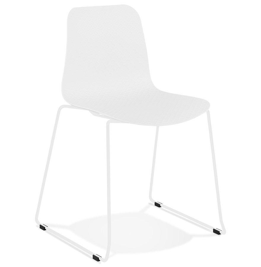 Chaise moderne 'EXPO' blanche avec pieds en métal blanc