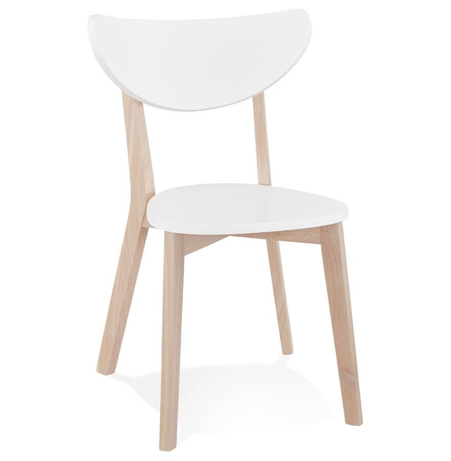 Chaise moderne 'MONA' blanche et structure en bois finition naturelle - Commande par 2 pièces / Prix pour 1 pièce