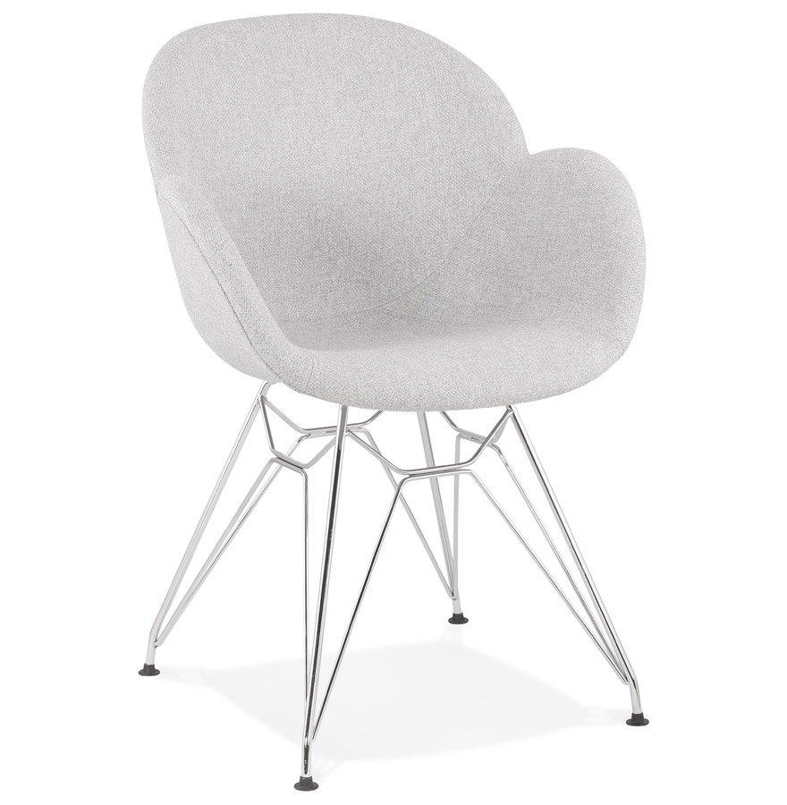 Chaise moderne 'ORIGAMI' en tissu gris clair avec pieds en métal chromé