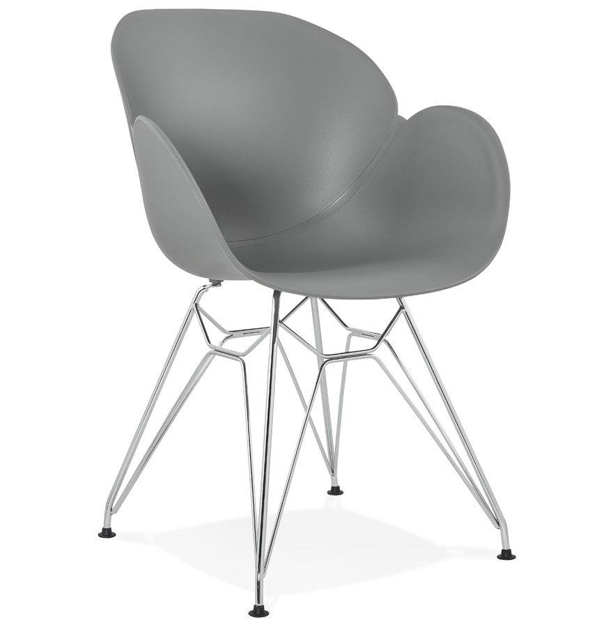 Chaise moderne 'UNAMI' grise en matière plastique avec pieds en métal chromé