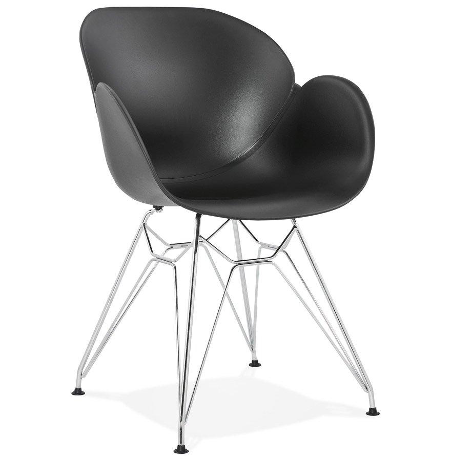 Chaise moderne 'UNAMI' noire en matière plastique avec pieds en métal chromé