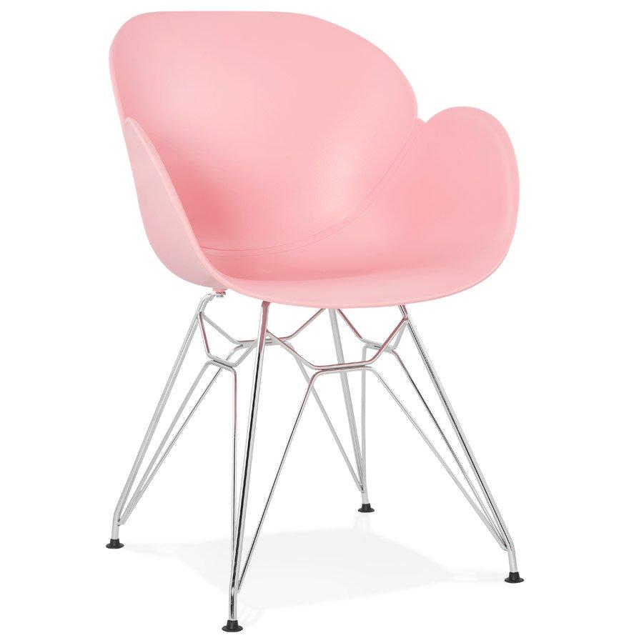 Chaise moderne 'UNAMI' rose en matière plastique avec pieds en métal chromé
