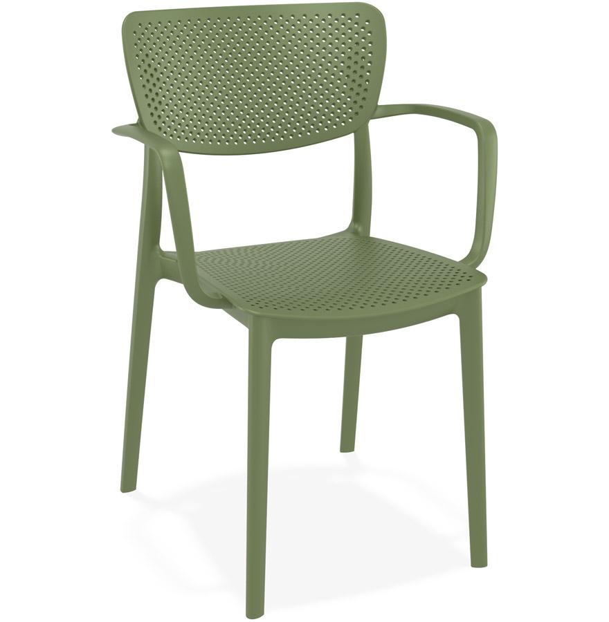 Chaise perforée avec accoudoirs 'TORINA' en matière plastique verte