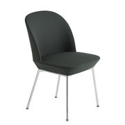 Chaise rembourrée Oslo / Tissu - Muuto tissu vert foncé / pieds chromés en tissu