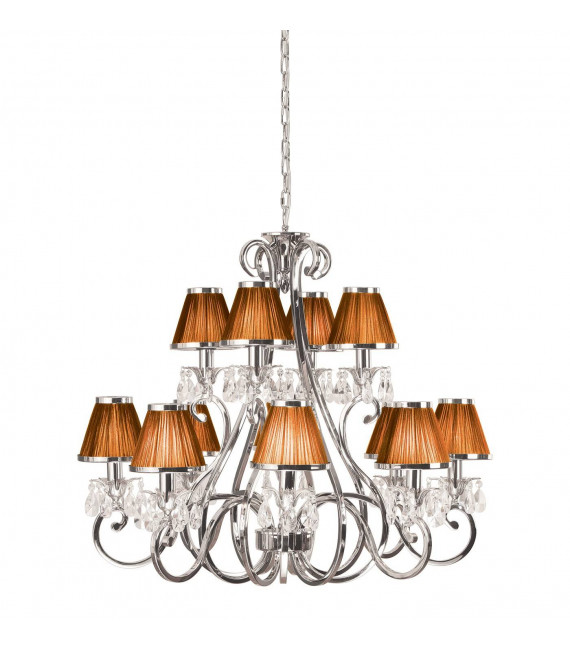 Chandelier Oksana, nickel poli, pampilles cristal, 12 abat-jours chocolat