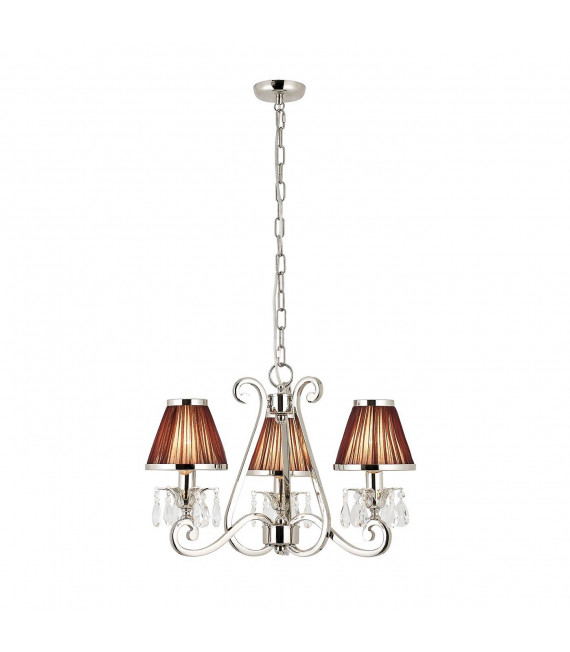 Chandelier Oksana, nickel poli, pampilles cristal, 3 abat-jours chocolat