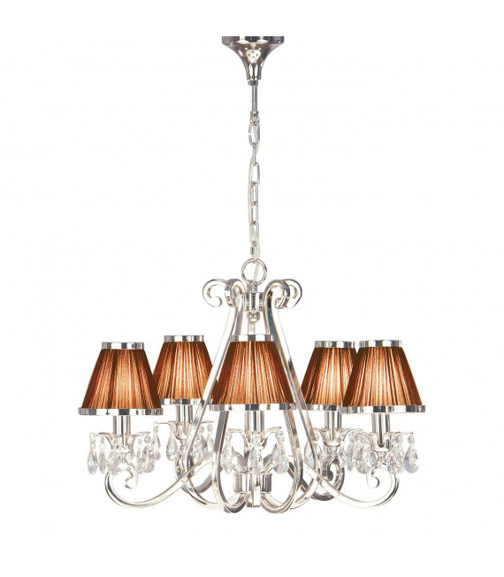 Chandelier Oksana, nickel poli, pampilles cristal, 5 abat-jours chocolat