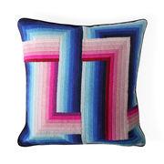 Coussin Bargello Infinity / 55 x 55 cm - Brodé main / Laine & velours - Jonathan Adler bleu,rose en tissu