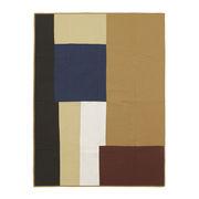 Couverture Shay Patchwork / Matelassé - 180 x 130 cm - Ferm Living multicolore (tons moutarde) / face arrière de couleur unie en tissu