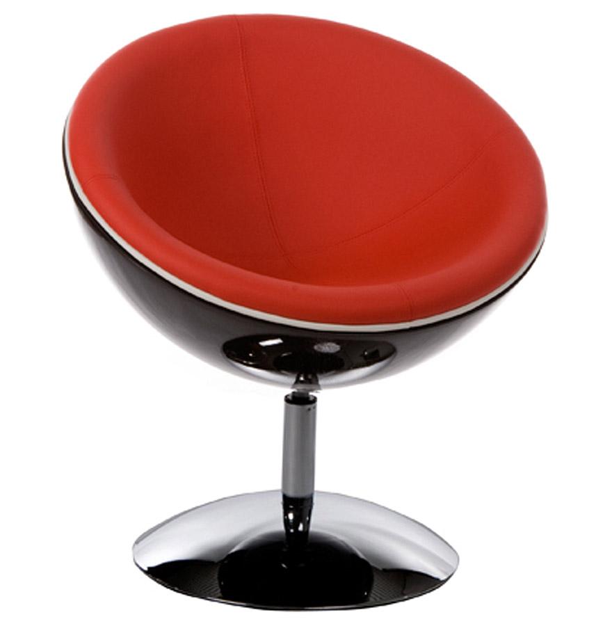 Fauteuil design boule 'SPHERA' pivotant 360° noir et rouge