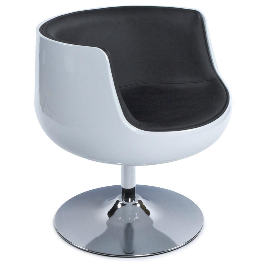 Fauteuil design 'DEKO' boule rotatif blanc et noir
