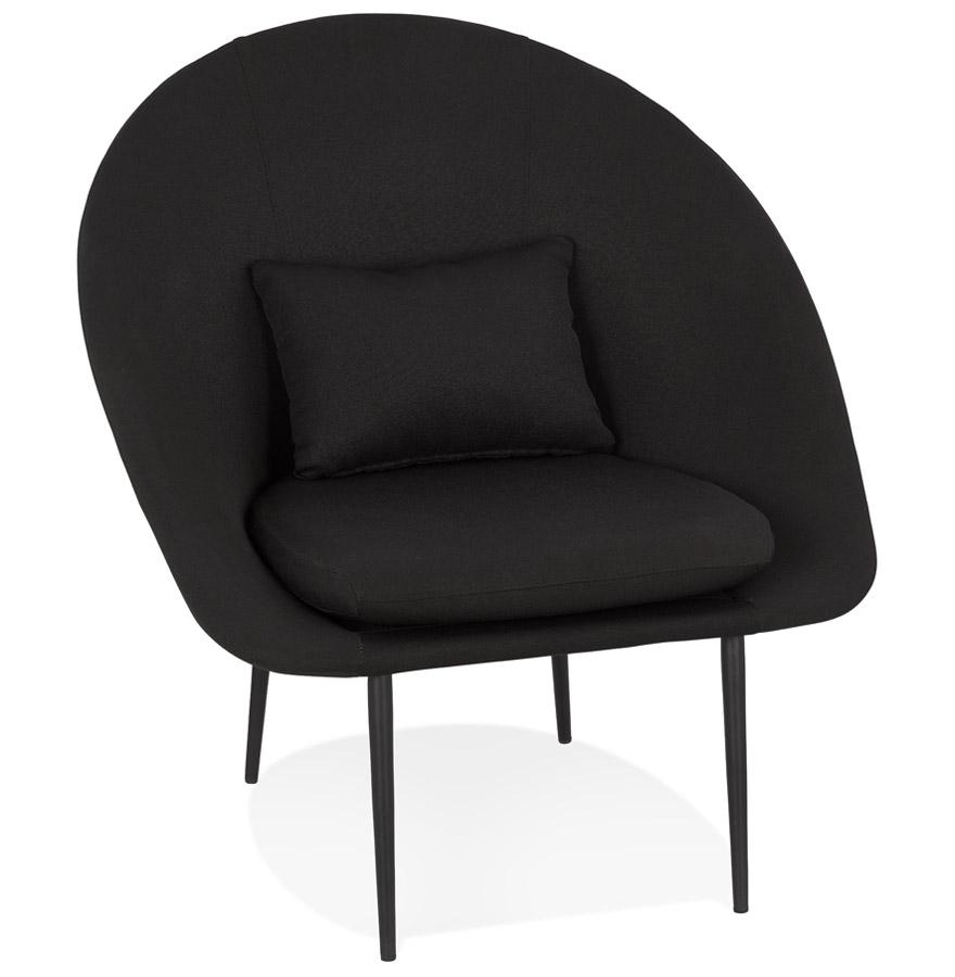 Fauteuil design lounge 'TOTEM' en tissu noir