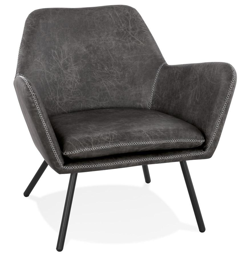Fauteuil lounge design 'AMERIKA' en matière synthétique gris foncé
