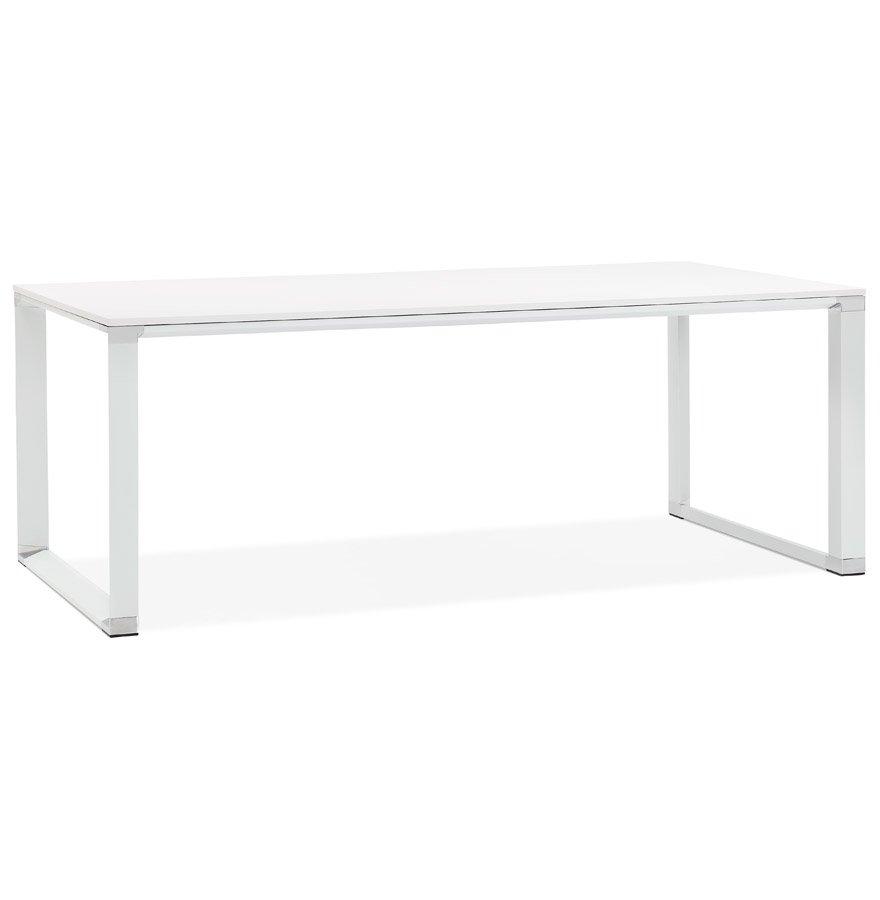 Grand bureau de direction droit 'XLINE' en bois blanc - 200x100 cm