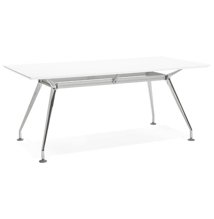Grand bureau / table de réunion 'STATION' en bois peint blanc - 180x90 cm