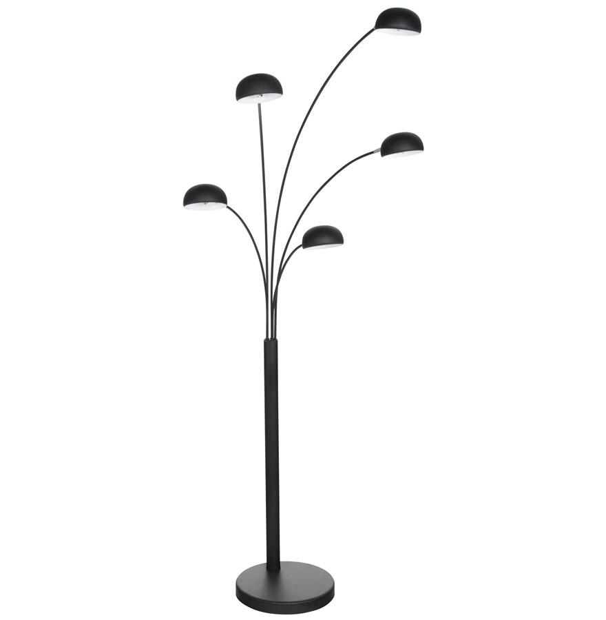 Lampadaire 5 branches 'FIVE BOWS' noir