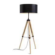 Lampadaire Darwin / Tissu & bois - Hauteur réglable 143 à 173 cm - It's about Romi noir,bois naturel en tissu