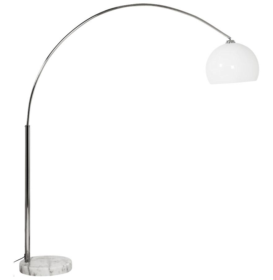 Lampadaire design en arc 'BIG BOW XL' abat-jour blanc
