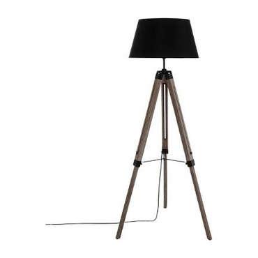 Lampadaire métal et bois 145 cm TREPIED RUNO coloris noir