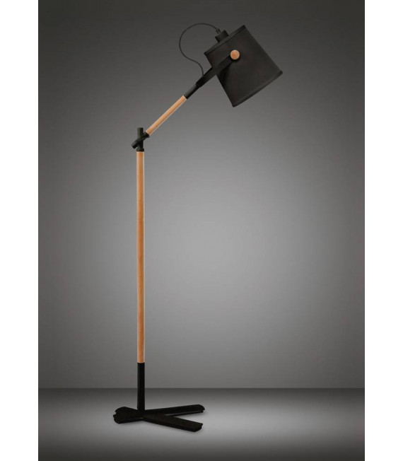 Lampadaire Nordica avec Abat jour noir 1 Ampoule E27, noir mat/hêtre avec Abat jour noir
